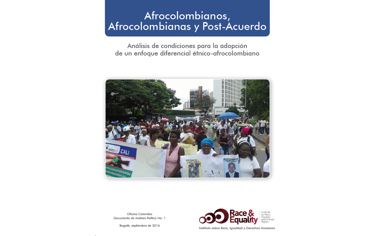 The Institute on Race, Equality and Human Rights releases a new publication with analysis on the Colombian peace process and the situation of Afro-Colombian populations