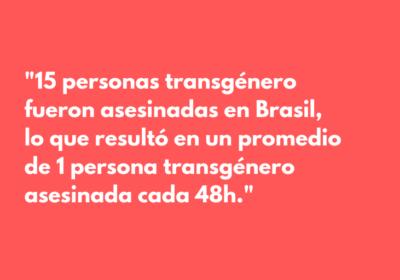 15 personas transgénero de Brasil fueron asesinadas en el mes de septiembre