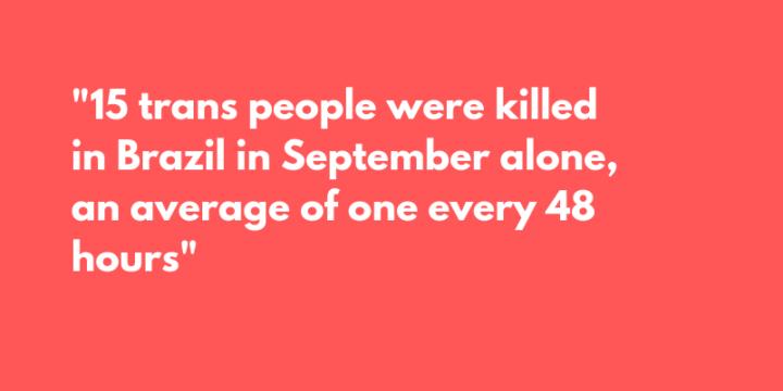 Brazil: 15 Killings of Transgender Persons Reported in September