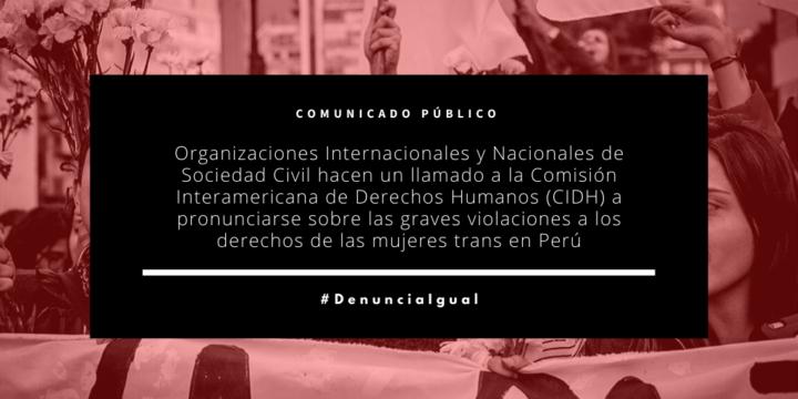 Organizaciones Internacionales y Nacionales de Sociedad Civil hacen un llamado a la Comisión Interamericana de Derechos Humanos (CIDH) a pronunciarse sobre las graves violaciones a los derechos de las mujeres trans en Perú