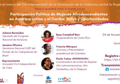 Raza e Igualdad invita al webinar Participación Política de Mujeres Afrodescendientes en América Latina y el Caribe: Retos y Oportunidades
