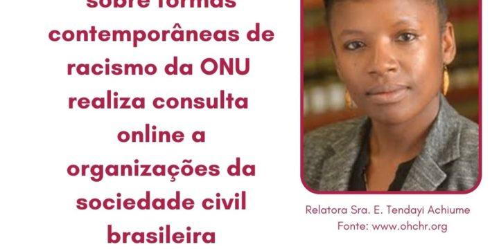 Relatoria especial sobre formas contemporâneas de racismo da ONU realiza consulta online a organizações da sociedade civil brasileira